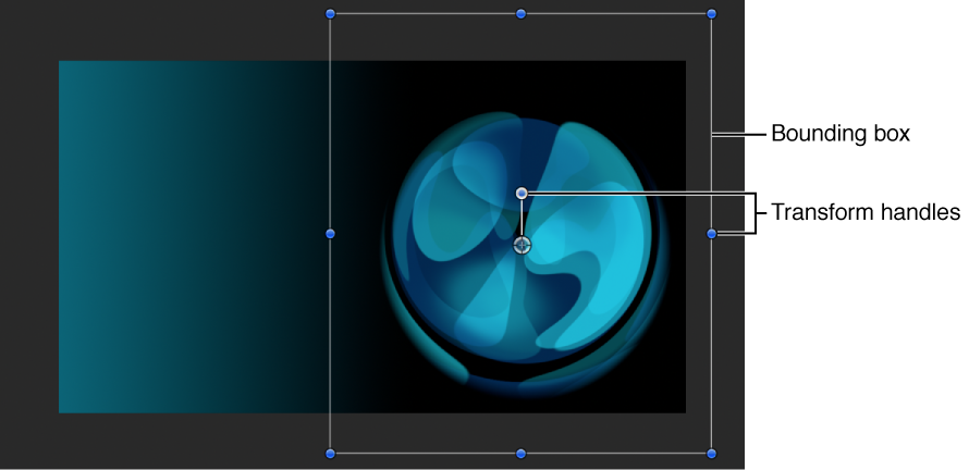Canvas showing an object positioned outside the viewable area with its bounding box and transform handles available in the Canvas