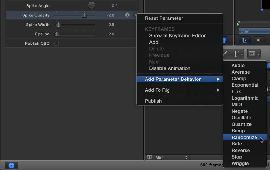 Generator Inspector showing shortcut menu of parameter behaviors