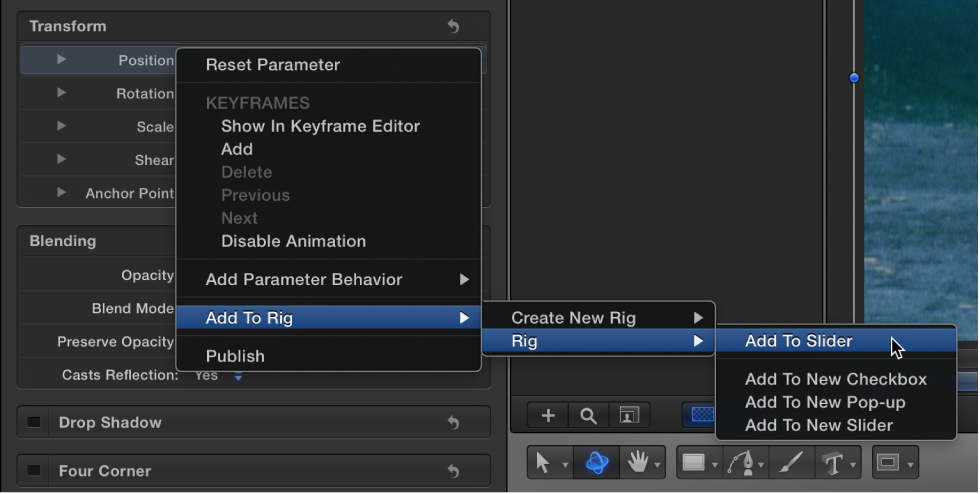 Inspector showing Animation menu with Add to Slider selected