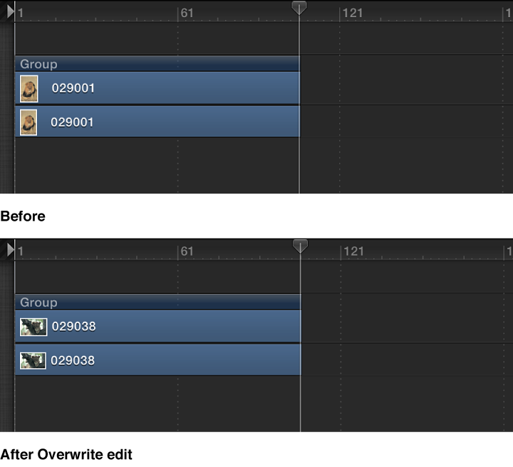 Timeline showing an object, then the object overwritten