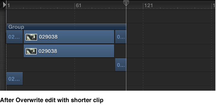 Timeline showing a shorter object being overwritten onto a longer object, splitting the original object.
