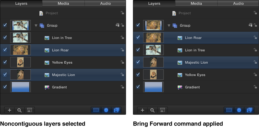 Layers list showing layers changing order using the Bring Forward command