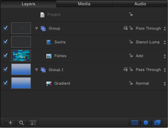 Layers list showing a group set to Pass Through blend mode