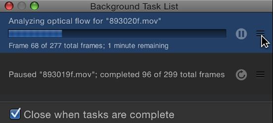 Background Task List showing task order being rearranged