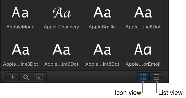 Icon View and List View buttons in the Library