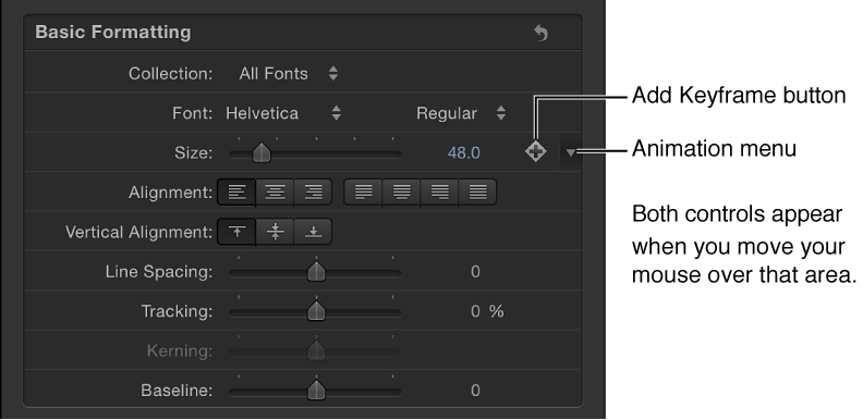 Animation menu icon for Text Size parameter, in the Inspector