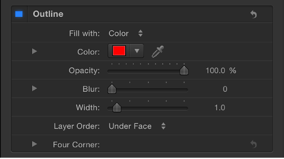 Outline controls in Style pane of Text Inspector