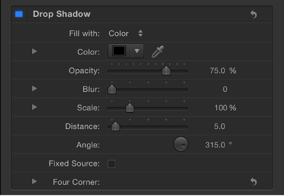 Drop Shadow controls in Style pane of Text Inspector