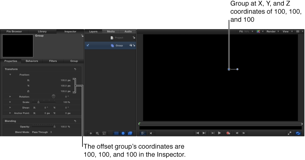 Canvas and Inspector showing group placed at coordinates: X=100, Y=100, Z=100