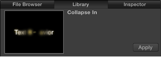 Library showing preview area and Apply button