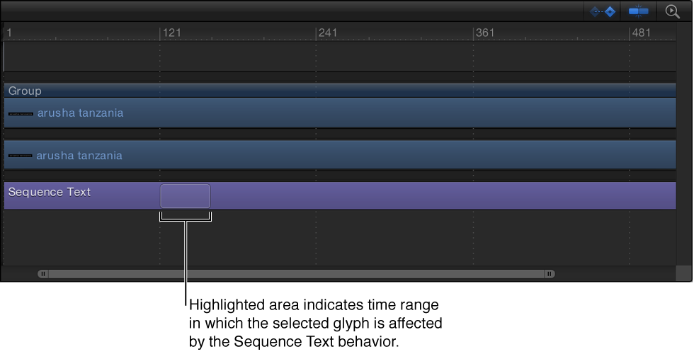 Timeline showing Sequence Text behavior bar with highlighted area indicating the animation location of the selected glyph