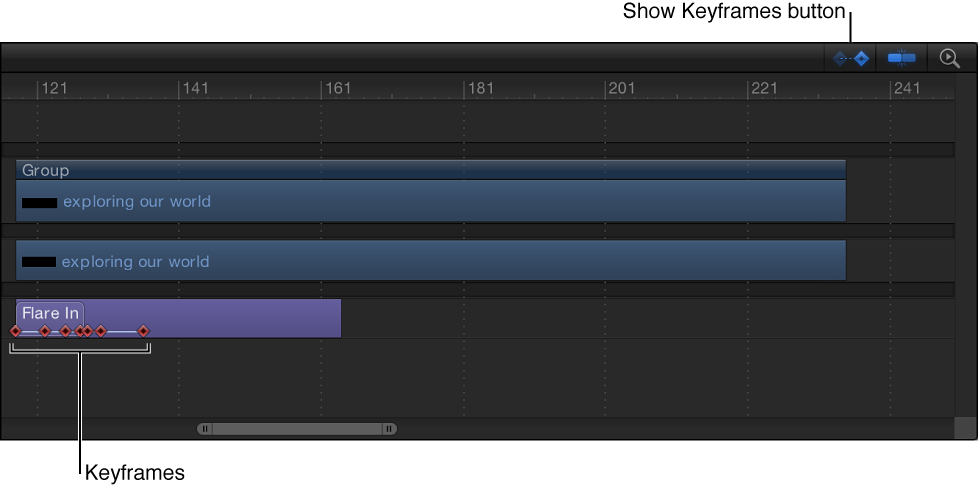 Timeline showing Show/Hide Keyframes button and visible keyframes in a text sequence behavior