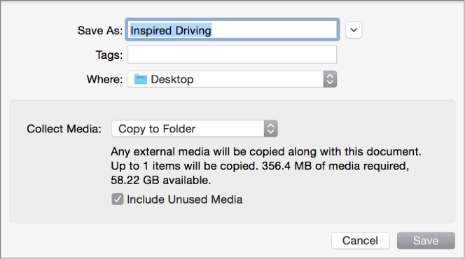Save As dialog showing Collect Media pop-up menu options
