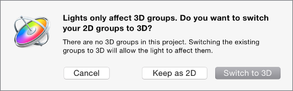 Switch to 3D dialog