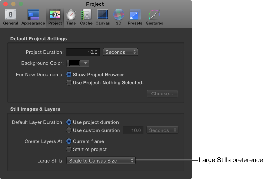 Preferences window showing Project pane with Large Stills pop-up menu set to Scale to Canvas Size