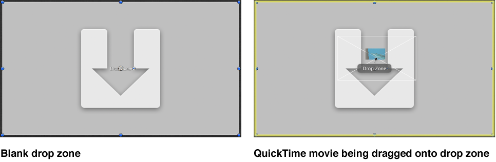 Canvas showing a QuickTime movie being dragged onto a drop zone