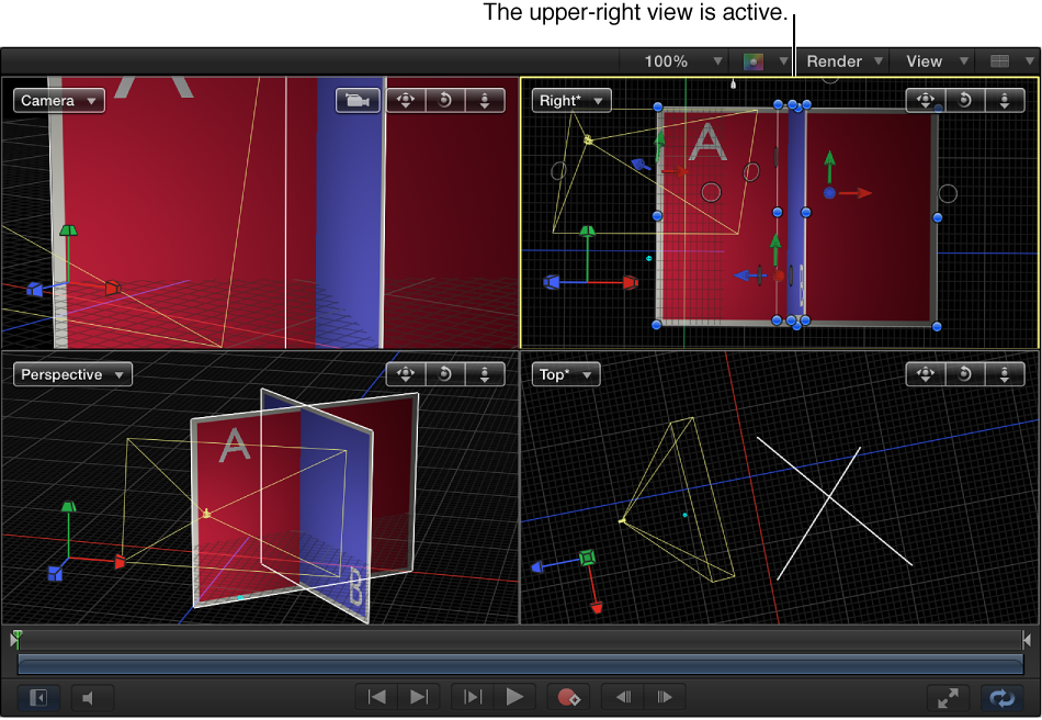 Canvas showing four-up view with upper-right view active