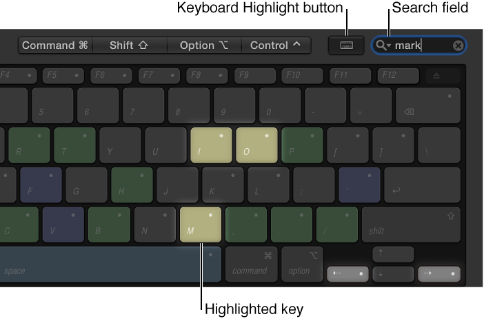 Command Editor showing highlighted Command keys