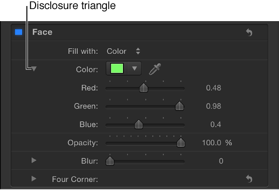 Expanded Color controls in Inspector
