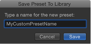 Save Preset to Library dialog