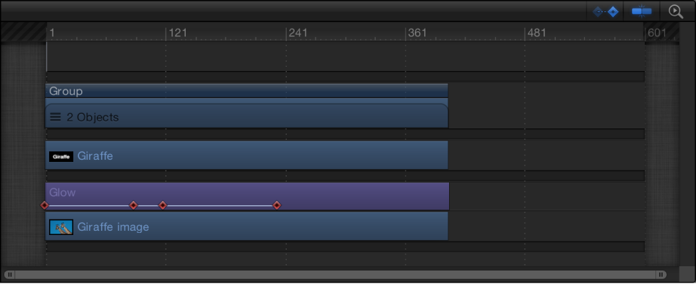 Timeline showing keyframes on a layer