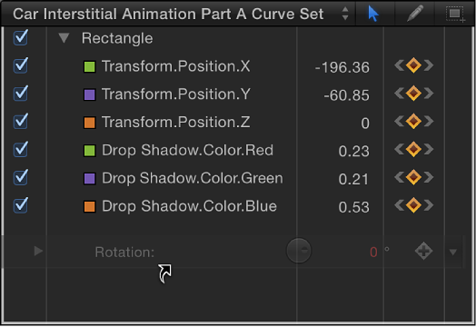 Parameter being dragged from Inspector to parameter list in Keyframe Editor