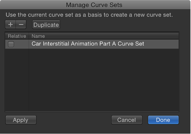 Manage Curve Sets dialog