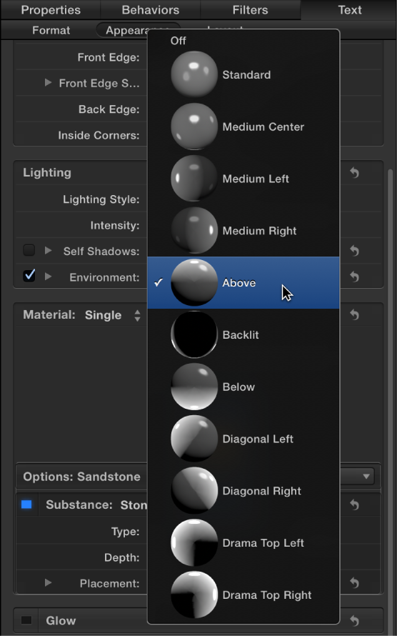 Figure. Inspector showing 3D text Lighting Style pop-up menu.