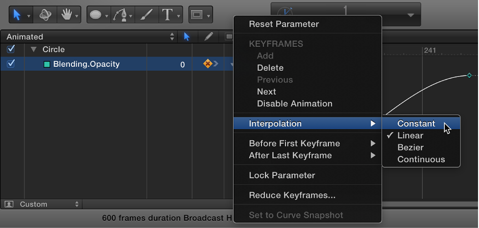 Changing interpolation method for an entire parameter using Animation menu in Keyframe Editor