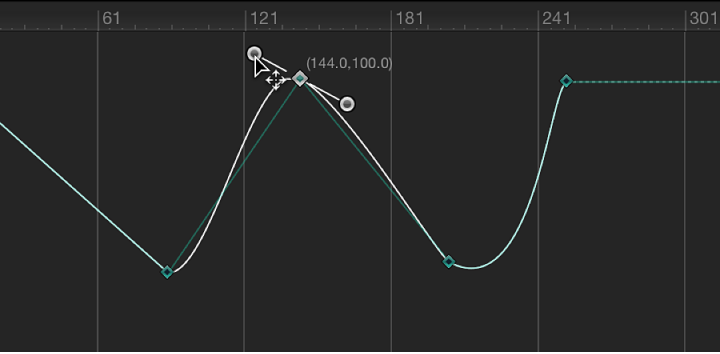 Keyframe Editor showing Bezier handle being moved while constrained