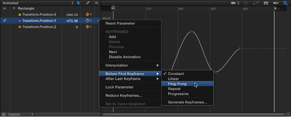 Keyframe Editor showing Before First Keyframe submenu of Animation menu