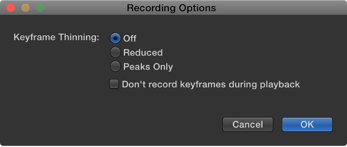 Recording Options dialog