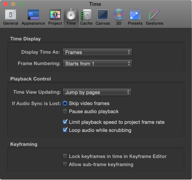 Figure. Motion Preferences window showing Time pane