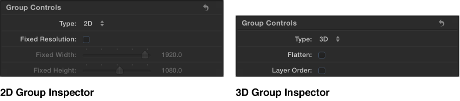Figure showing a 2D Group Inspector and a 3D Group Inspector