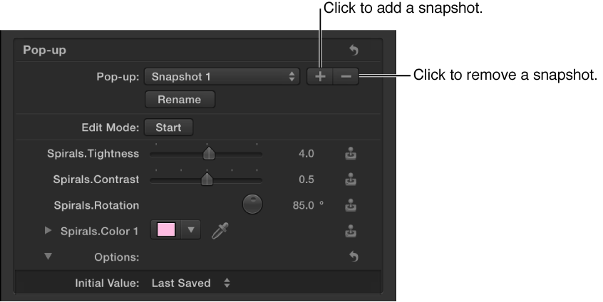 Inspector showing buttons to add and remove snapshots