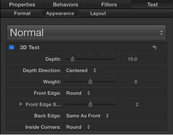 3D Text controls in the Appearance pane of the Text Inspector