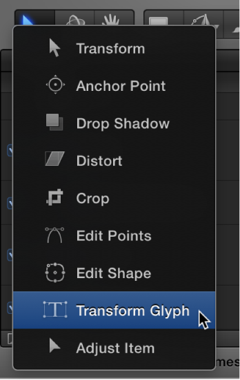 Selecting the Transform Glyph tool from the toolbar