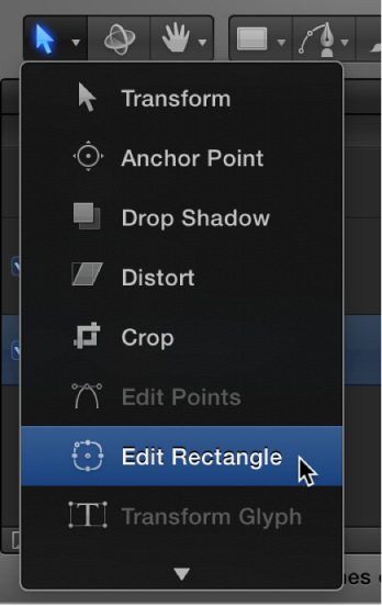 Choosing the Edit Rectangle tool from the transform tools pop-up menu