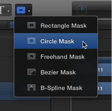 Selecting the Circle Mask tool from the mask shape tools pop-up menu