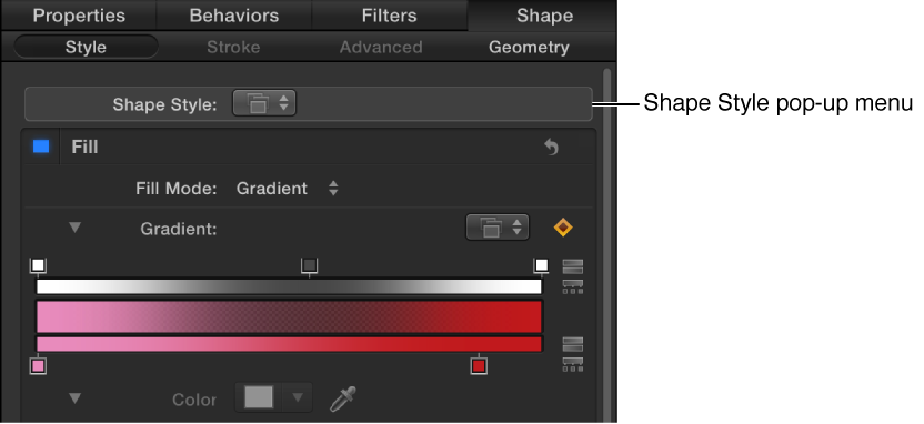 Shape Style pop-up menu in the Style pane of the Shape Inspector
