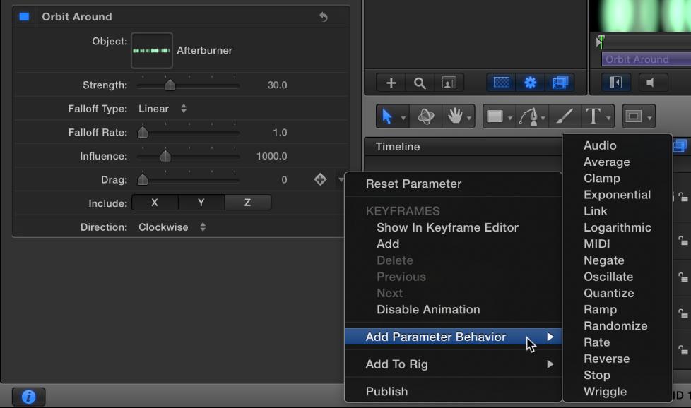 Add Parameter submenu in the Animation menu