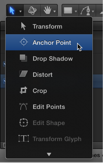 Selecting the Anchor Point tool from the 2D transform tools pop-up menu