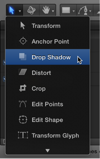 Selecting the Drop Shadow tool from the 2D transform tools pop-up menu