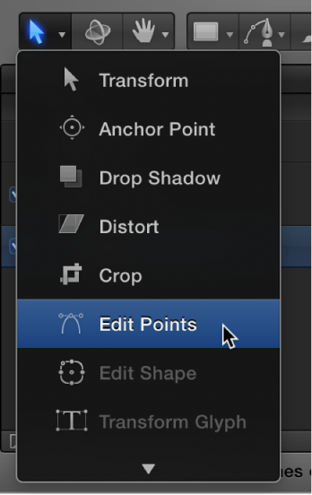 Selecting the Edit Points tool from the 2D transform tools pop-up menu