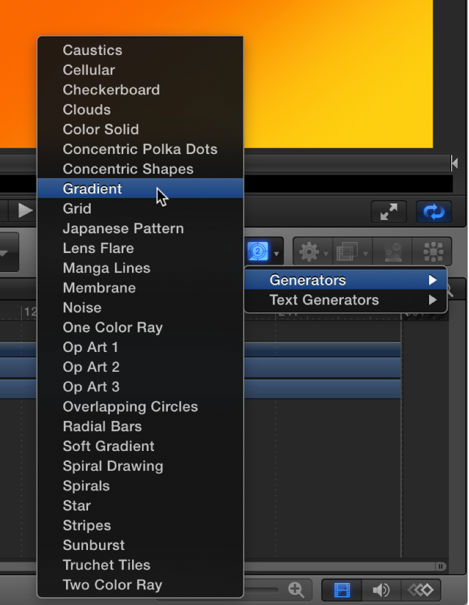Selecting a generator from the Add Generator pop-up menu in the toolbar