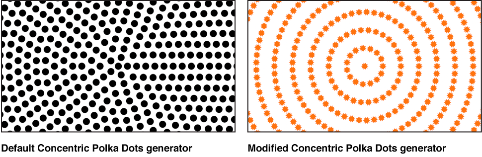 Canvas showing Concentric Polka Dots generator with a variety of settings