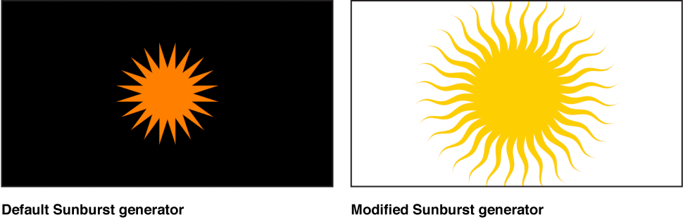 Canvas showing Sunburst generator with a variety of settings