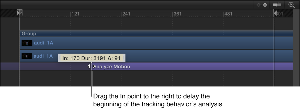 Adjusting the In point of a behavior in the Timeline