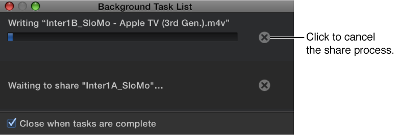 Background Task List showing the Cancel button