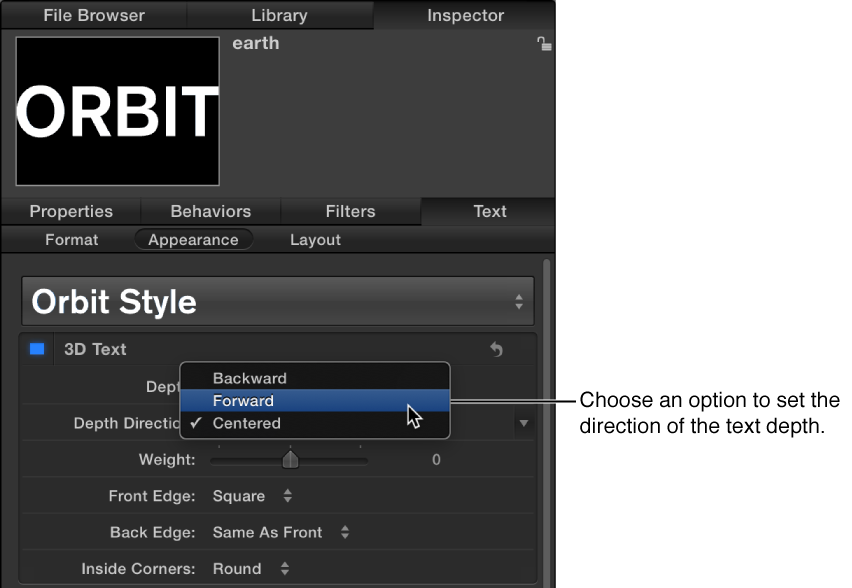 Appearance pane of the Text Inspector showing options in the Depth Direction pop-up menu
